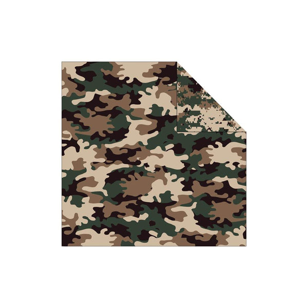 "Camouflaged Double-Sided Cardstock 12""X12"", Woodland and Digital Camo"