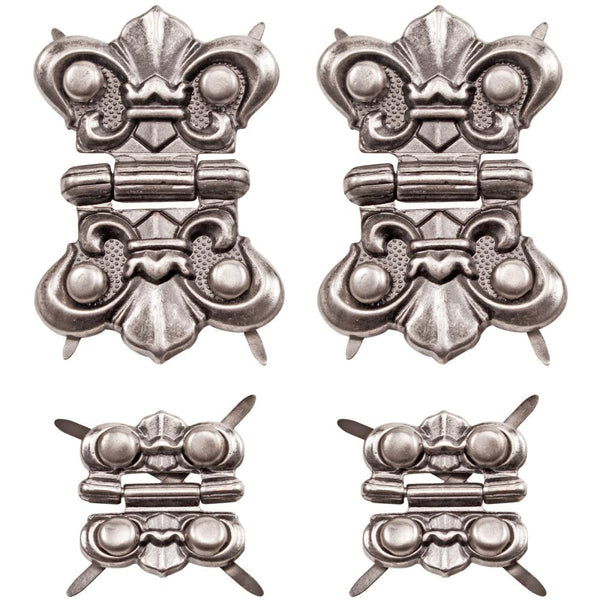 "Advantus, Tim Holtz Idea-Ology Hinges .75""X.75"" & 1.125""X2.625"" 4/Pkg, Antique Nickel W/16 Fasteners"