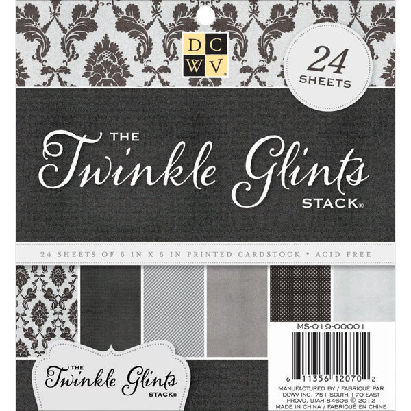 "DCWV Single-Sided Cardstock Stack 6""X6"" 24/Pkg, Twinkle Glints - Scrapbooking Fairies"