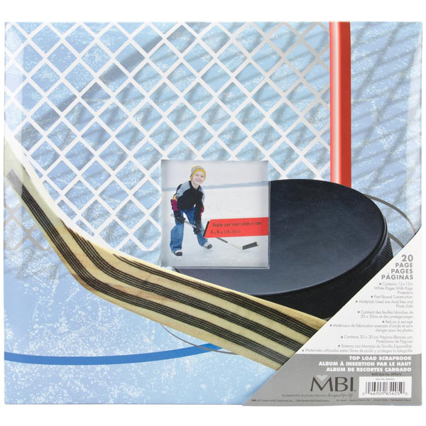 "MBI Sport & Hobby Post Bound Album W/Window 12""X12"", Hockey"