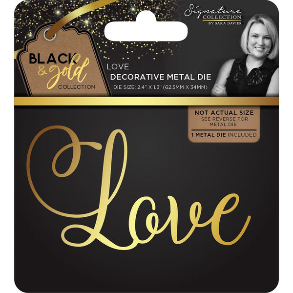 Crafter's Companion, Sara Davies Signature Black & Gold Metal Die, Love