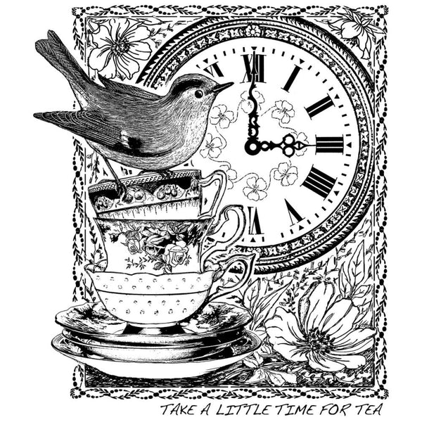 "Crafty Individuals Unmounted Rubber Stamp 4.75""X7"" - Tea Time At 3"