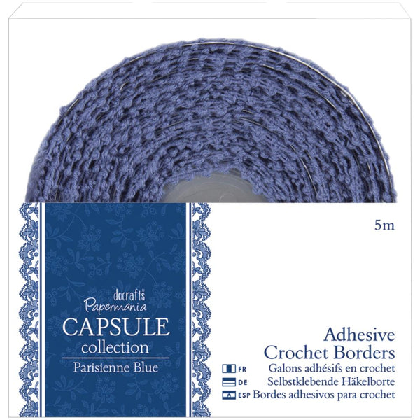 Papermania Parisienne Blue Adhesive Crochet Border, 5 meters