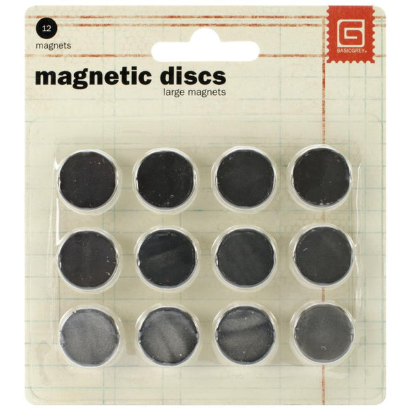"Basic Grey, Self-Adhesive, Super Slim and Strong Magnetic Discs 0.625"", 1/32"" Thick, 12/Pkg"