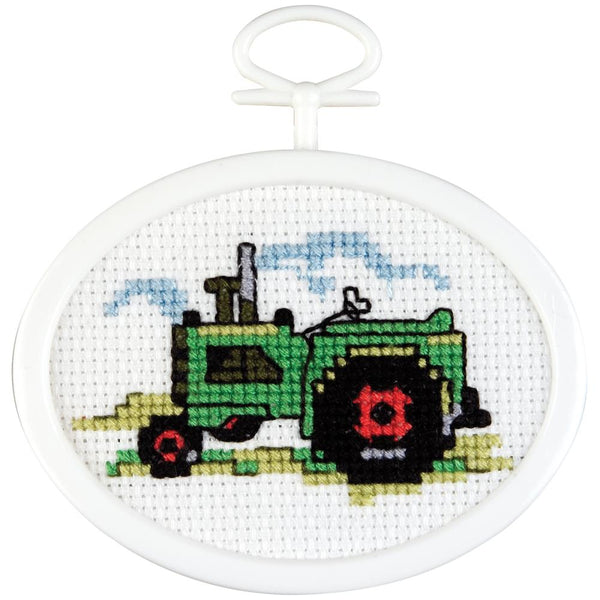 "Janlynn, Tractor Mini Counted Cross Stitch Kit, 2.75"" Oval 18 Count"