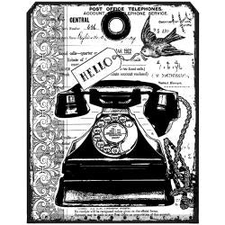 "Crafty Individuals Unmounted Rubber Stamp 4.75""X7"" Pkg, Chunky Vintage Telephone Tag"