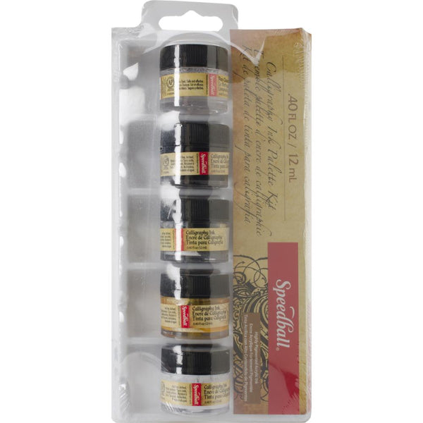 Speedball Calligraphy Ink Palette Kit, 4 Colors & Pen Cleaner