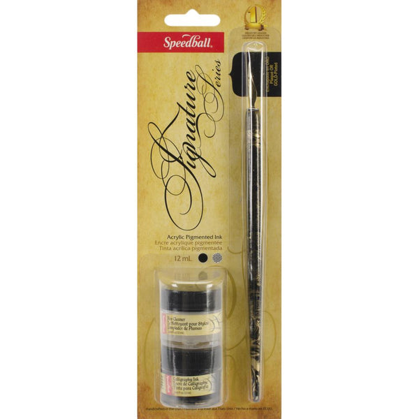 Speedball Signature Series Calligraphy Set, Black Pigment Acrylic Ink & Pen Cleaner - Scrapbooking Fairies