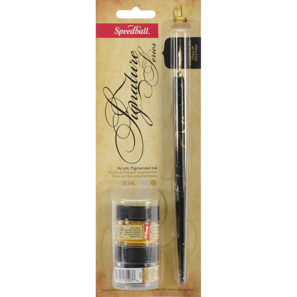 Calligraphy Set, Silver & Gold Pigment Acrylic Ink & Pen Handcrafted Gold Plated Nib