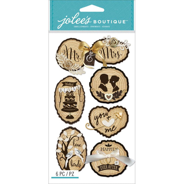 Jolee's Boutique Dimensional Stickers, Wooden Silhouette Wedding Icons