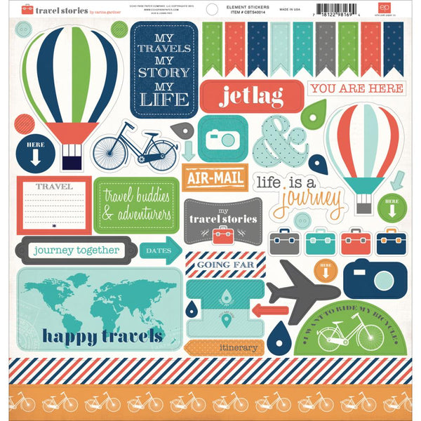 "Travel Stories, Cardstock Stickers 12""X12"", Element"