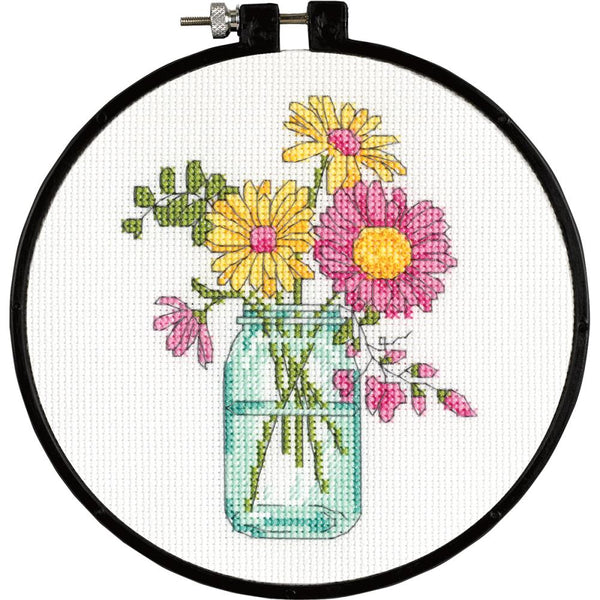 "Dimensions Learn-A-Craft Summer Flowers Counted Cross Stitch Kit, 6"" Round (14 counts) - Scrapbooking Fairies"