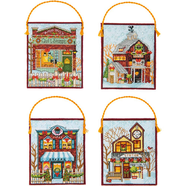 Dimensions Counted Cross Stitch Kit, Winter Village Ornaments (16 counts) - Scrapbooking Fairies