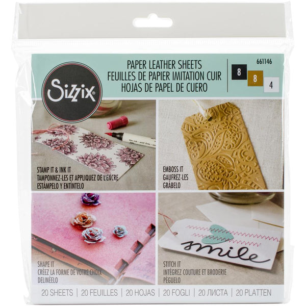 "Sizzix Paper Leather 6""X6"" Sheets 20/Pkg, Basics Assorted"
