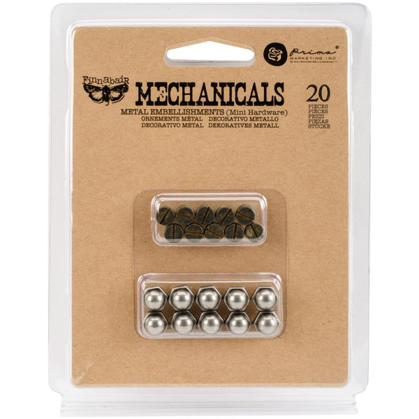 Prima, Finnabair Mechanicals Metal Embellishments, Mini Hardware 20/Pkg