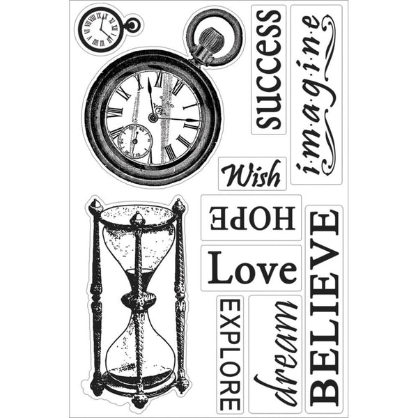 "Couture Creations, 4x6"" Hearts Ease Collection, Time Goes On, Clear Stamps - Scrapbooking Fairies"