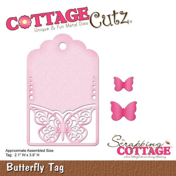 "CottageCutz Die, Butterfly Tag, 2.1""X3.9"""