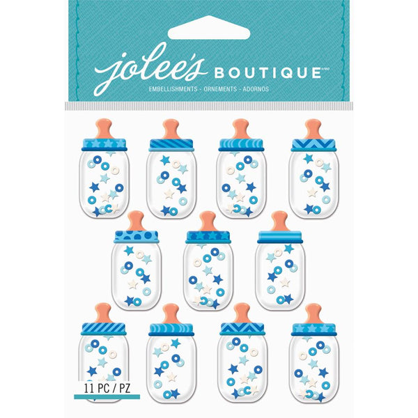 Jolee's Boutique, Dimensional Repeat Stickers, Baby Boy Bottle Dome