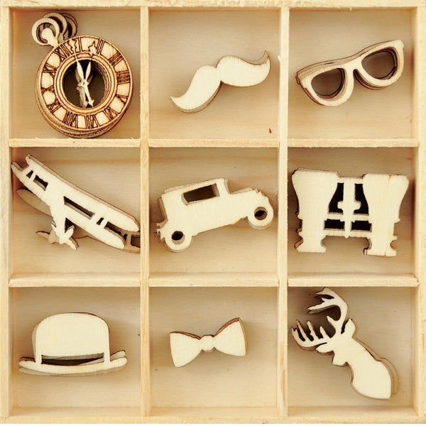 Kaisercraft, Themed Mini Wooden Flourishes 45/Pkg, Gentlemen - Scrapbooking Fairies