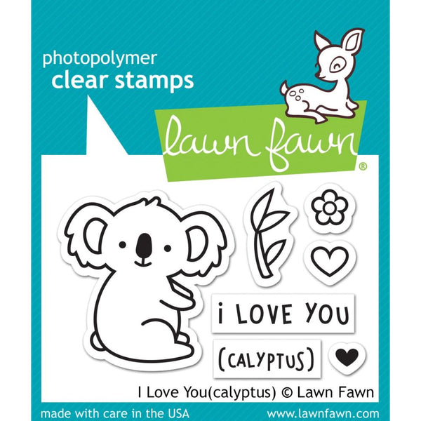 "Lawn Fawn, Lawn Fawn Clear Stamps 3""X2"" & Custom Craft Die, I Love You (calyptus), Stamps & Dies Combo"