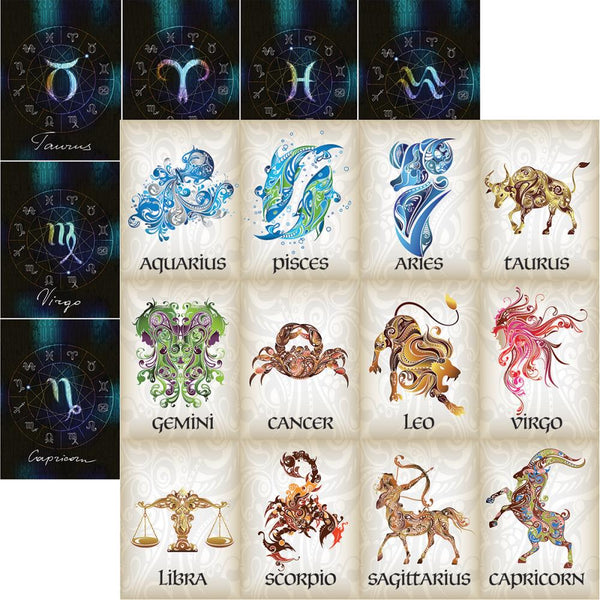 "What's Your Sign? Double-Sided Cardstock 12""X12"", What's Your Sign - Scrapbooking Fairies"