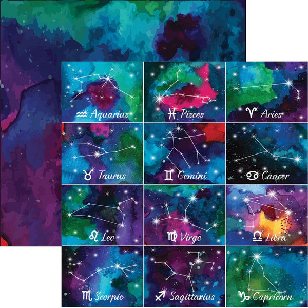 "What's Your Sign? Double-Sided Cardstock 12""X12"", Written In The Stars - Scrapbooking Fairies"