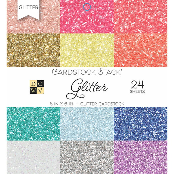 "Die Cuts with a View (DCWV) Single-Sided Cardstock Stack 6""X6"" 24/Pkg, Glitter, 12 Colors/2ea - Scrapbooking Fairies"