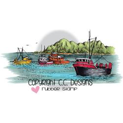 "C.C. Designs, Cling Stamp 4.5""X2.237"", Boat Harbor"