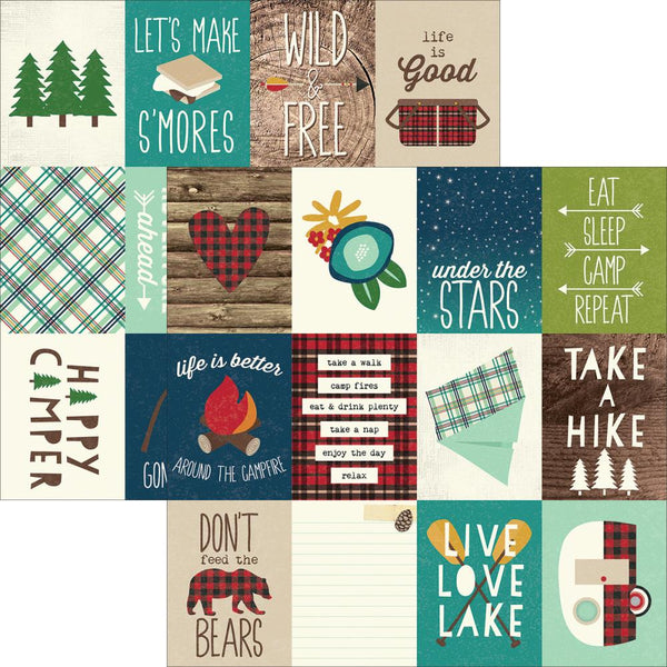 "Simple Stories, Cabin Fever Double-Sided Elements Cardstock 12""X12"", 3""X4"" Journaling Cards"