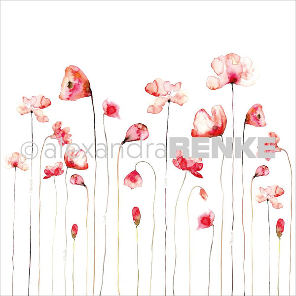 "Alexandra Renke Poppy Design Paper 12""X12"", Red"