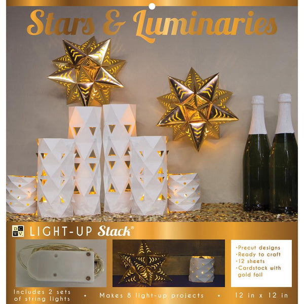 DCWV DIY Light Up Project Stack, 2 Stars & 2 (3-Piece) Luminaries Sets