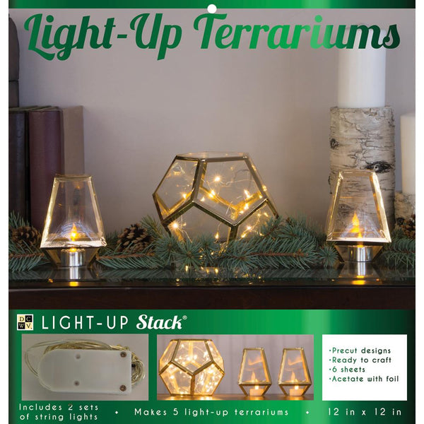 DCWV DIY Light Up Project Stack, 5 Holiday Terrariums
