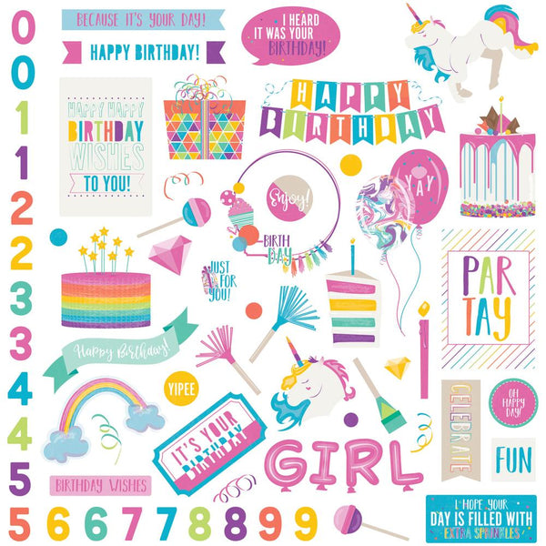 "Cake Rainbow Sprinkles Stickers 12""X12"", Elements - Scrapbooking Fairies"