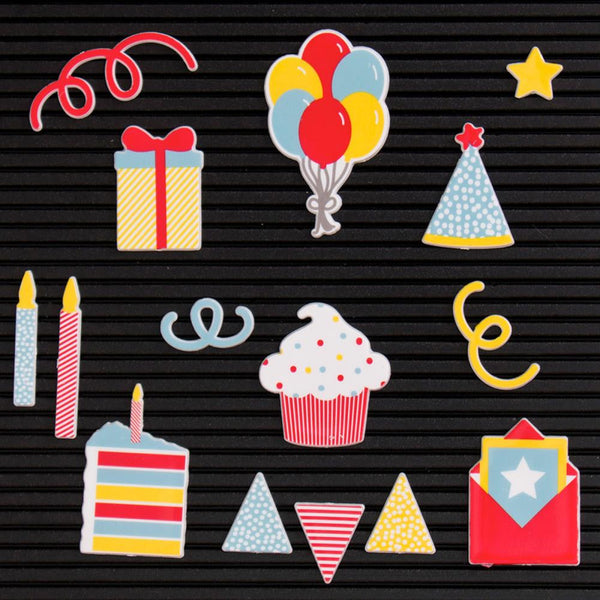 DCWV Letterboard Icons, Celebration (15 pcs) - Scrapbooking Fairies