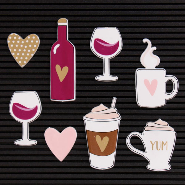 DCWV Letterboard Icons, Coffee & Wine (8 pcs) - Scrapbooking Fairies