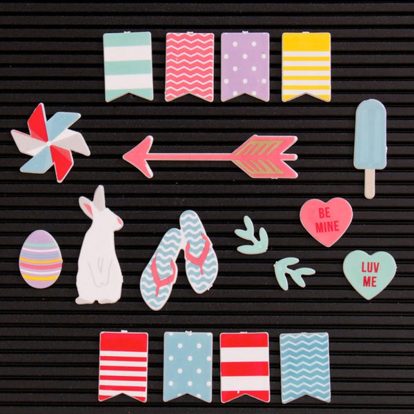 DCWV Letterboard Icons, Spring/Summer (18 pcs) - Scrapbooking Fairies