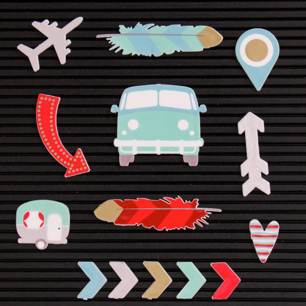 DCWV Letterboard Icons, Travel (14 pcs) - Scrapbooking Fairies