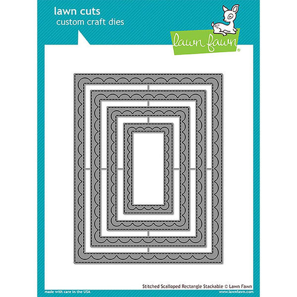 Lawn Cuts Custom Craft Stackables Dies, Outside In Stitched Scalloped Rectangle