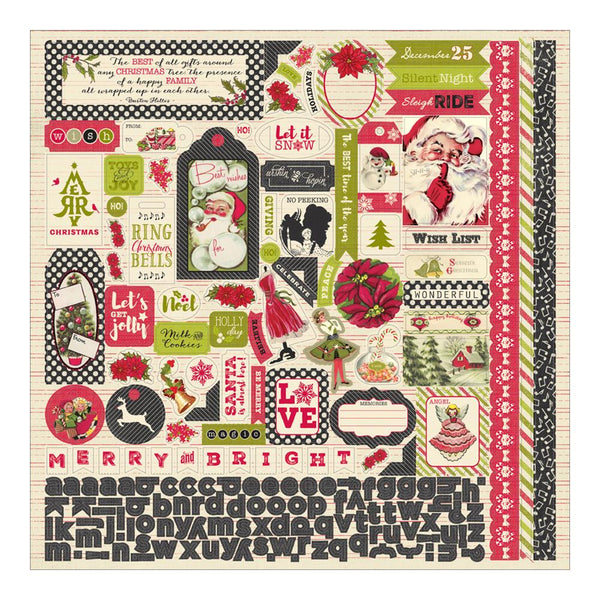 "Authentique, Vintage Christmas Cardstock Stickers 12""X12"" - Scrapbooking Fairies"