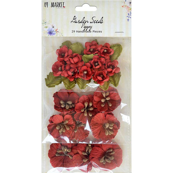 "49 And Market Garden Seed Flowers .75""-1.5"" 29/Pkg, Poppy"