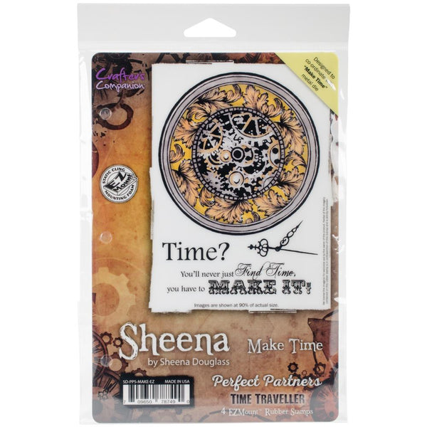 Crafter's Companion, Sheena Douglass Perfect Partners Time Traveler Stamps, Make Time - Scrapbooking Fairies