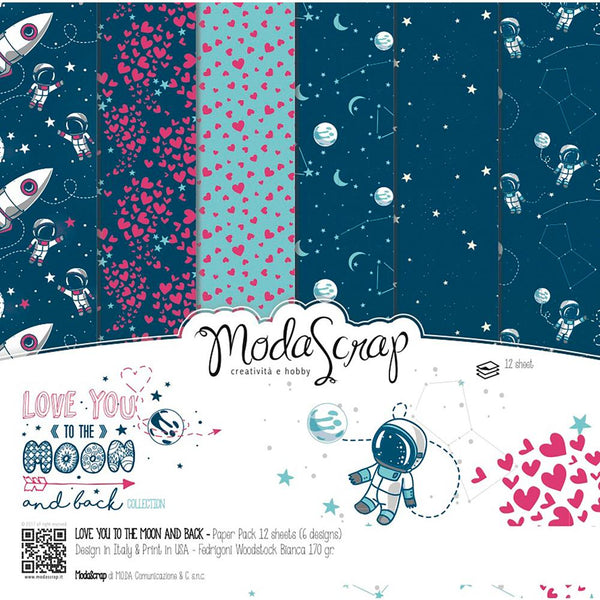 "Elizabeth Craft ModaScrap Paper Pack 6""X6"" 12/Pkg, Love You To The Moon And Back"