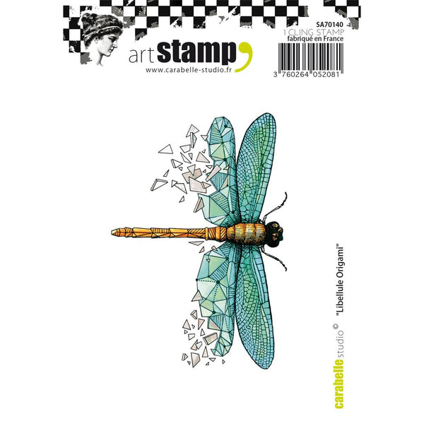 Carabelle Studio Cling Stamp A7, Dragonfly Origami - Scrapbooking Fairies