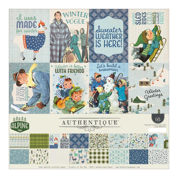 "Authentique Collection Kit 12""X12"", ""Alpine"", Alpine Eight, Double-Sided Paper w/ Stickers Sheet - Scrapbooking Fairies"