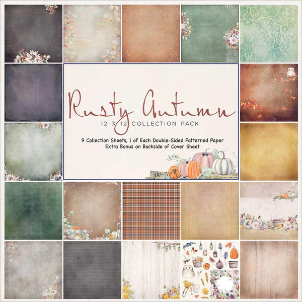 "49 and Market, Rusty Autumn Collection Pack 12""X12"" 9/Pkg - Scrapbooking Fairies"