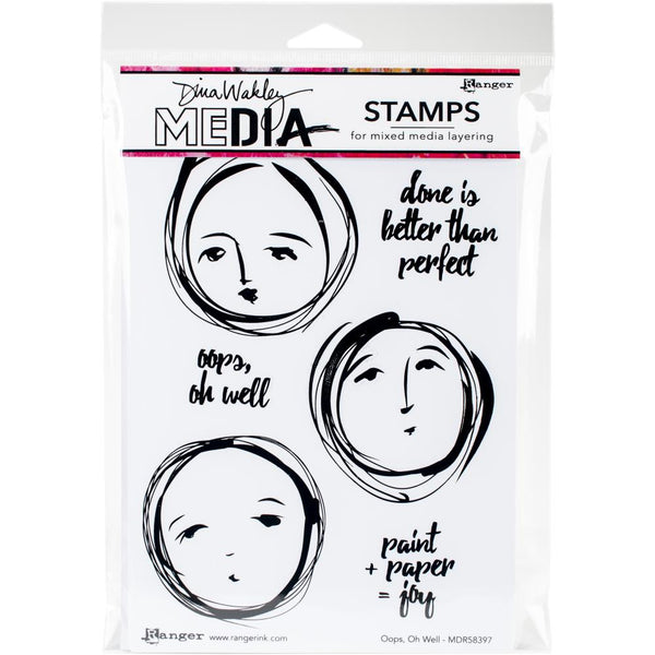 "Ranger, Dina Wakley Media Cling Stamps 6""X9"", Oops, Oh Well"