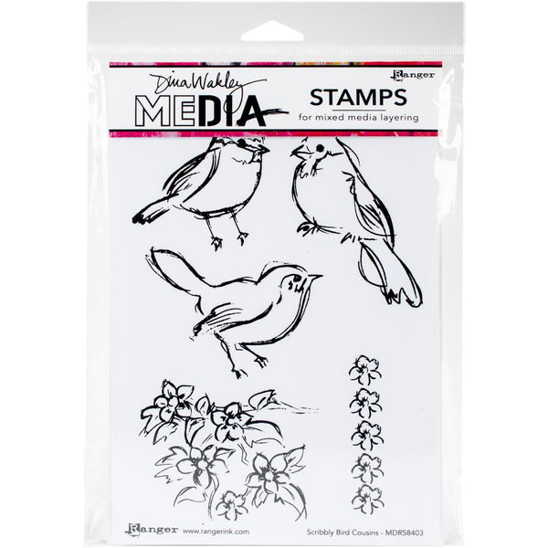 "Dina Wakley Media Cling Stamps 6""X9"", Scribbly Bird Cousins"