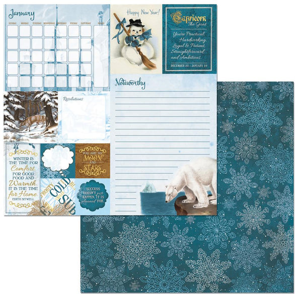 "BoBunny, On This Day Double-Sided Cardstock 12""X12"", January - Scrapbooking Fairies"