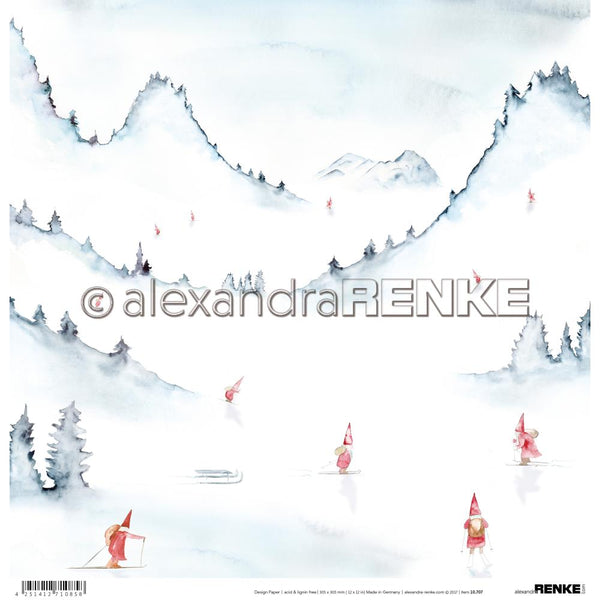 "Alexandra Renke Winter Paper 12""X12"", Gnomes In Mountains"