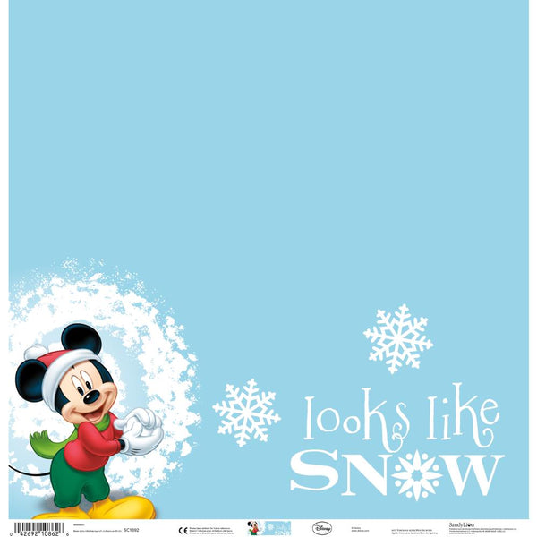 "Disney Single-Sided Paper 12""X12"", Mickey Looks Like Snow - Scrapbooking Fairies"